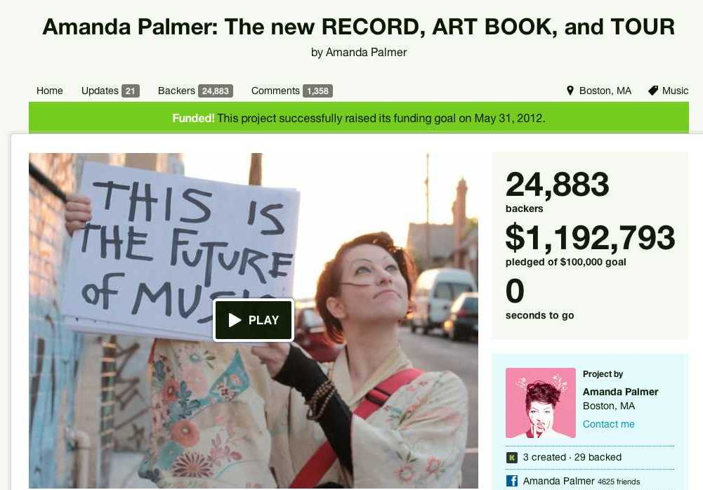 "Amanda believes in freeing music and the artist, but "" (I)n order for artists to survive and create, their audiences need to step up and directly support them."" 24, 883 of her fans stepped up. Image source: http://www.kickstarter.com/projects/amandapalmer/amanda-palmer-the-new-record-art-book-and-tour"