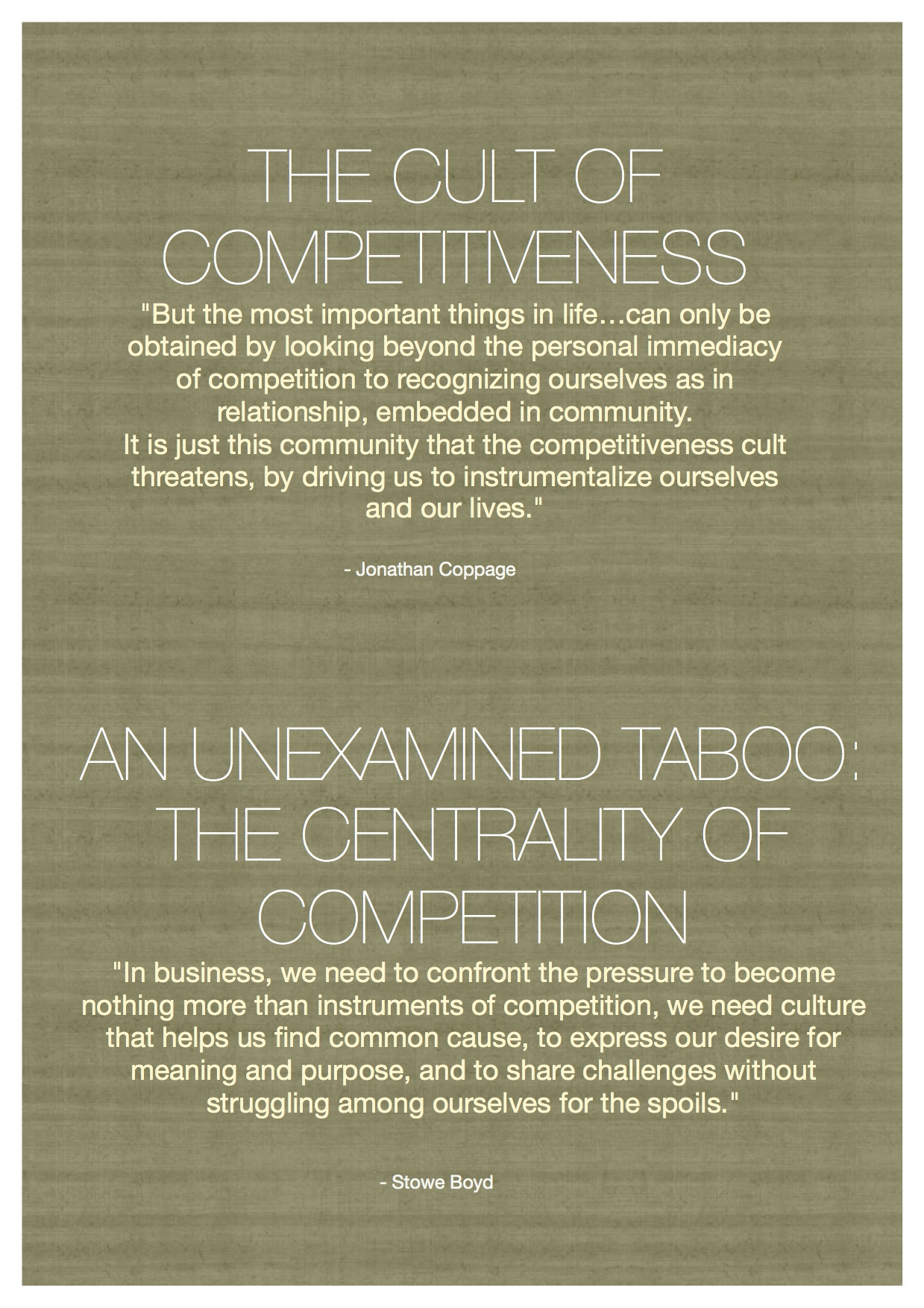 The Cult of Competitiveness